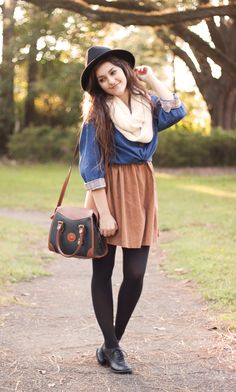 love the a-line tan skirt with the black and blue