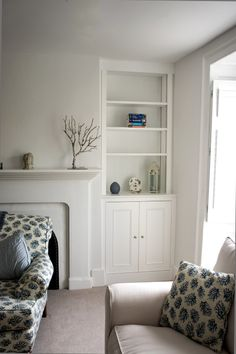 White painted Alcove cupboards