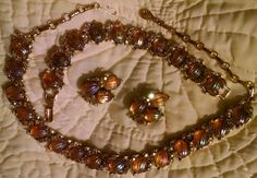 Iridescent Signed CORO Necklace Bracelet Clip on Earring Rhinestone Parure Set  #Coro
