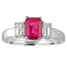 AGL Certified 1.27 Carat Burma Ruby 3 Stone Diamond Ring   From a unique collection of vintage three-stone rings at https://www.1stdibs.com/jewelry/rings/three-stone-rings/