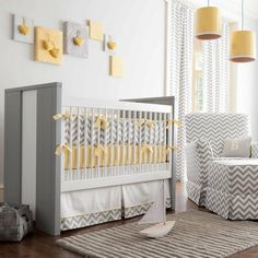 Interesting Unisex Baby Room Themes : Traditional Kids Gray And Yellow Chevron Crib Bedding Wall Art Idea Adorable Unisex Nursery Baby Crib Bedding, Baby Bedroom, Baby Boy Rooms, Baby Room Decor, Baby Boy Nurseries, Baby Cribs, Nursery Room, Nursery Decor, Decorating Rooms