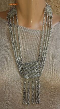 Traditional Yemenite necklace - my version,  made of glass silvered beads