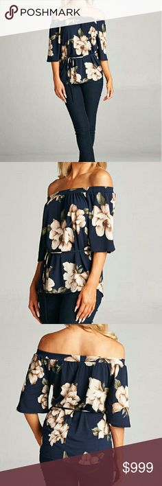 LAST ONE SALE! Floral Off Shoulder Top - Large Off shoulder wide sleeve floral print top with waist tie.   Stretch veneccia fabric.  Color: Navy  Quantities Limited Tops Blouses