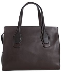 Tod's : dark brown calfskin leather two-tone top handle tote