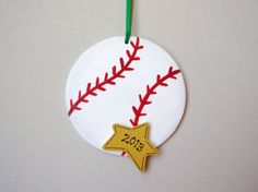 Baseball Ornament - make it for the Christmas tree, to remember the year he went to Cooperstown -- all it needs is the team or player name written on it.