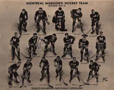 vintagesportspictures:  Montreal Maroon's hockey team (1934)