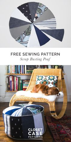 Free Sewing Pattern // Scrap Busting Pouf // Closet Case Patterns #FabricShears Pouf Ottoman, Sewing Patterns Free, Free Sewing, Pouffe Pattern, Pouf En Crochet, Crochet Pouf Pattern, Diy Pouf, Pouf Design, Fabric Shears