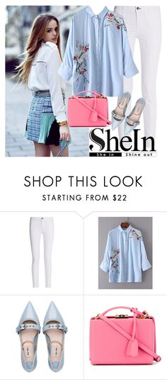 """""""SheIn flower blouse"""" by fashionqueengirl ❤ liked on Polyvore featuring rag & bone, Miu Miu and Mark Cross"""