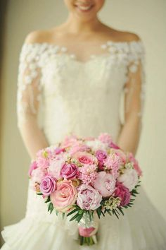Pink peony and rose bridal bouquet // Floral Bouquet Recipes by Theme - Part 1