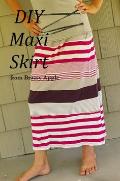 2 old t-shirts = one cool skirt DIY, except I would cut the shirts open and orient them the other direction to have better drape