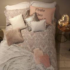 Let's make it a duvet day! Pillow case from Cushion Bedlinen from… Apartment Bedroom Decor, Bedroom Themes, Diy Bedroom, Bedroom Ideas, Primark Bedding, Primark Homeware, Duvet Day, Chill Room, Teen Girl Bedrooms