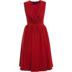 Giambattista Valli Ladylike Dress (9,515 MYR) ❤ liked on Polyvore featuring dresses, vestidos, red, robes, loose fitting dresses, v-neck dresses, v neck cocktail dress, loose fit dress and red fitted dress