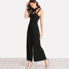90768e5847c Cecily Elegant and Comfy Black Jumpsuit with Halter-style neckline – SN0771  – BleuFlutter Black
