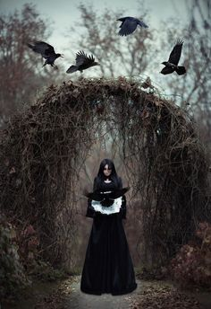 The dark witch in the empty forest by Maryna Khomenko