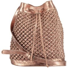 Aurora Bucket Bag Rose Gold (708.485 COP) ❤ liked on Polyvore featuring bags, handbags, shoulder bags, purses, backpack, crochet purse, rose gold handbag, backpack purse, crochet handbags and rose gold backpack