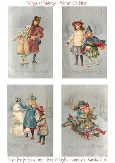 Wings of Whimsy: 1905 Vintage Snow Globes Winter Children Printables