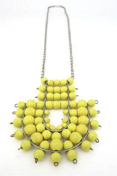 aarikka, Finland - vintage large canary yellow pendant necklace