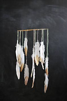 DIY Feather & Gold Painted Dream Catcher Mobile