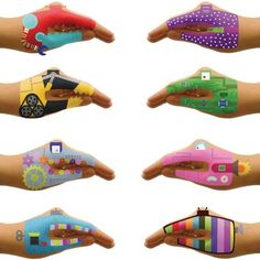 Robot Hands temporary tattoos give a whole new meaning behind the phrase 'talk to the hand'. Get silly and creative with the things that are straight out of the future! Turn your hand into one of 8 fun and brightly colored robots - you'll wish you had hands to spare!