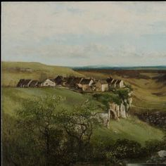 """Gustave Courbet: """"Château d'Ornans"""", 1855, Oil on canvas, Dimension: 32 1/8 x 46 in. (81.6 x 116.84 cm) (canvas) 44 1/16 x 57 1/2 x 3 1/2 in. (111.92 x 146.05 x 8.89 cm) (outer frame), Current location: Minneapolis Museum of Art."""