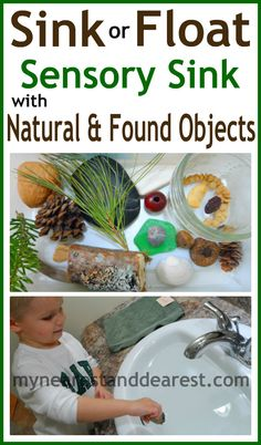 Sink or float activity for kids with objects from nature. Explore textures and the concepts of sinking and floating with your toddler or preschooler.