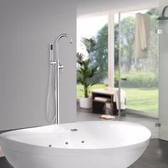 Bathroom Waterfall Spout Polished Chrome 52004 Floor Mount Shower Set Wash Basin Sink Bathtub Torneira Tap Mixer Faucet #Affiliate