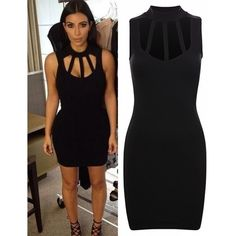 Kim Kardashian Celebrity Inspired Black Cut Out Caged High Neck Crepe... ($1.55) ❤ liked on Polyvore