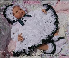 "Leaf and Bud Matinee Set 16-22"" doll (preemie-3m+ baby)-babydoll handknit designs, doll, knitting pattern, reborn, baby, matinee, leaf pattern, bonnet"
