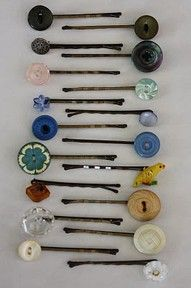 Glue vintage buttons to bobby pins, cute gift! Find vintage and new buttons at Nanalulus Linens and Handkerchiefs