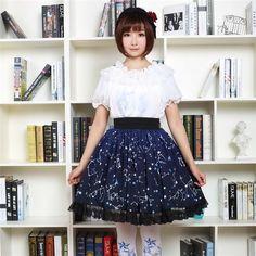 Sweet Dark Blue Constellation Printed Lolita Pleated Skirt