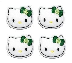 White Kitty with Shamrock Bow felt applique by EmbroiderThat, $3.95