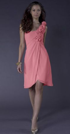 Liz Fields Short One Shoulder Chiffon Rosette Bridesmaid Dress 407 at frenchnovelty.com