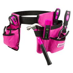 Cala 7 Piece Pink Tool Set With Tool Belt This pink 7 piece tool set with tool belt by Cala is the perfect set for anyone just starting their tool collection, and includes everything you need for basic home projects! Pink Love, Pretty In Pink, Pink And Green, Hot Pink, Purple, Tool Bag With Wheels, Pink Tool Box, Hand Tool Sets, Hand Tools