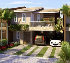 57 ideas exterior de casas sencillas for 2019 Modern House Facades, Modern House Design, Modern Architecture, Modern Houses, Dream House Plans, My Dream Home, Style At Home, Duplex House, Facade House