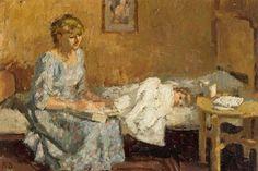 pintura de Bernard Dunstan Art And Illustration, Illustrations, Coventry, Books To Read For Women, London Museums, Kids Reading, Woman Reading, Art Uk, Bedtime Stories