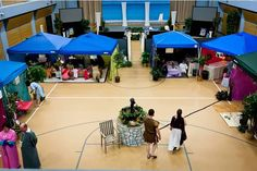 Bird's eye view of our marketplace- we run 10 shops in this room.  Our Celebration area is in the background.