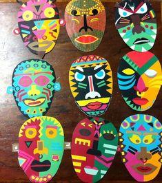 Resultado de imagen de MASCARAS AFRICANAS Mascara can be a cosmetic commonly utilized improve the ey African Art For Kids, African Art Projects, School Art Projects, Projects For Kids, Crafts For Kids, Arte Elemental, Africa Craft, Art Du Monde, 3rd Grade Art