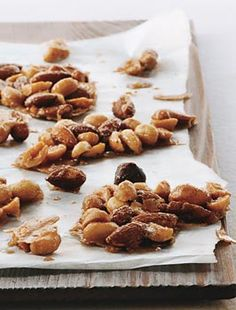 Sugar-and-Spice Candied Nuts Recipe | Epicurious.com. Butter. Sugar, Light corn syrup. Cinnamon. Ginger. Nutmeg. Kosher salt. Mixed nuts