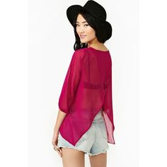Great Divide Blouse - Magenta ($19) ❤ liked on Polyvore