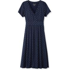 L.L.Bean Women's Summer Knit Dress, Short-Sleeve Dot  Misses (£49) ❤ liked on Polyvore featuring dresses, empire waist dresses, short sleeve summer dresses, blue dress, blue summer dress and a line dress