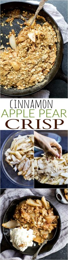 A divine CINNAMON APPLE PEAR CRISP that will take you to dessert bliss in one bite. The oatmeal topping is incredible with the perfect amount of crunch and uses less sugar than most. It's a must make dessert for the holidays!   joyfulhealthyeats.com