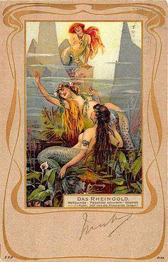 Das Rheingold Gold of Rhein Shower Curtain by fairychamber Vintage Backgrounds, Background Vintage, Art Nouveau Tattoo, Mermaid Board, Mermaid Images, Rusalka, Water Nymphs, Ad Art, Merfolk