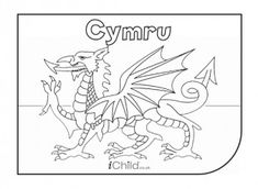 Print this magnificent Welsh dragon colouring page for kids to colour in for St David's Day or other patriotic occasions. Dragon Coloring Page, Flag Coloring Pages, Coloring Pages For Kids, Free Coloring, Coloring Sheets, Welsh Dragon, Celtic Dragon, Welsh Love Spoons, Wales Flag