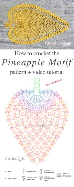 Pineapple Pattern Anywane Can Learn Pineapple Motif Lace Free Crochet PatternPineapple Motif Lace Free Crochet Pattern Crochet Doily Diagram, Crochet Flower Patterns, Doily Patterns, Crochet Chart, Thread Crochet, Crochet Motif, Crochet Designs, Crochet Flowers, Crochet Stitches