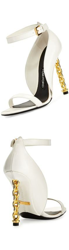 Tom Ford Chain Heel Leather Sandal, Chalk