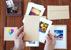 Select an Instagram photo to be printed. You get them with brown Kraft envelopes. These could be very affordable birth announcements.