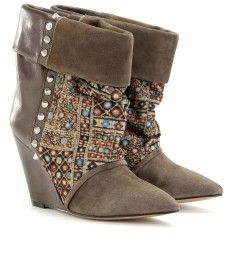 Isabel MarantKATE SUEDE PRINT CORDUROY AND LEATHER WEDGE ANKLE BOOT