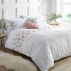 Rose Garden Embroidered Flower Duvet Cover & Pillowcase Set by Kaleidoscope Rose Duvet Cover, Duvet Covers, 3d Rose, Modern Bedroom Decor, White Bedding, Duvet Sets, Dream Bedroom, Embroidered Flowers, Living Spaces