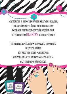 Printable spa party invitation diy invite spa manicure pedicure pedicure party birthday invitation perfectcardssy stopboris Gallery