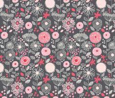 flowers_a_fantasy_gray fabric by stacyiesthsu on Spoonflower - custom fabric